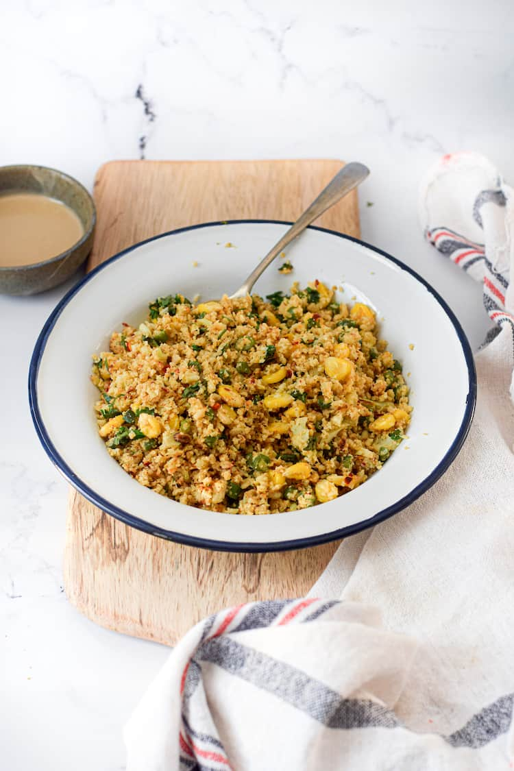 Enjoy a bowl of flavorful cauliflower rice that is vegan and gluten-free! Or pair it with your favorite meat!